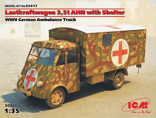 ICM 1/35 Maket Lastkraftwagen 3.5 AHN Alman Ambulans