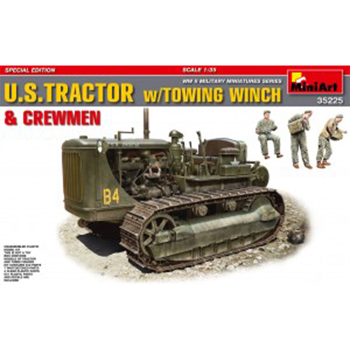 Miniart 1/35 Model U.S. Tractor w/Towing Winch With 3 figures